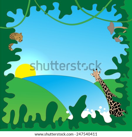 Jungle border - stock vector