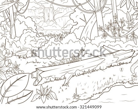 Jungle forest with waterfall coloring book cartoon vector illustration - stock vector