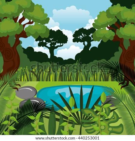 jungle landscape background isolated icon design, vector illustration  graphic  - stock vector