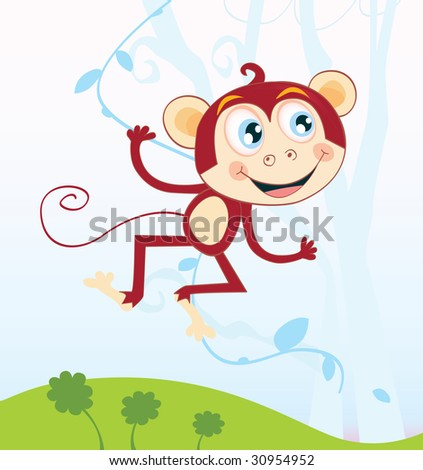 Jungle monkey. Funny animal jumping in jungle. Vector Illustration - stock vector