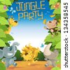 Jungle Party Border - stock photo