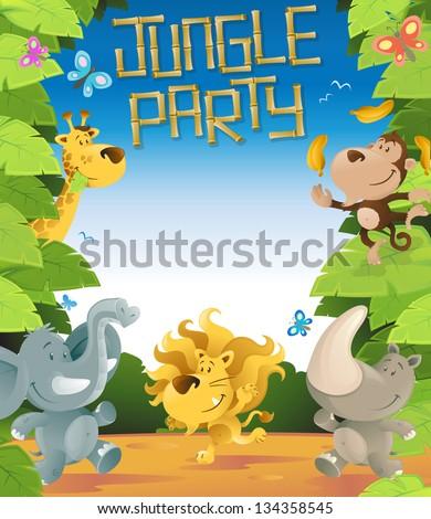 Jungle Party Border - stock vector