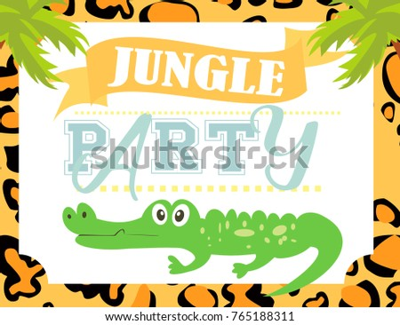 Jungle party invitation card stock vector 765098356 shutterstock jungle party invitation card stopboris Choice Image