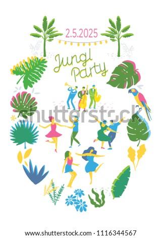 Jungle party invitation template jungle design stock vector jungle party invitation template jungle design card stopboris Choice Image