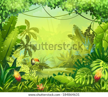 Jungle toucan and flower. For video and web design, online games, print, magazines, newspapers, books and posters. - stock vector