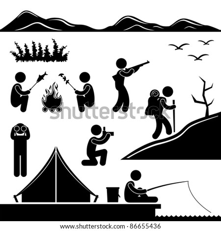 Jungle Trekking Hiking Camping Fishing Campfire Adventure People Icon Sign Symbol Pictogram - stock vector
