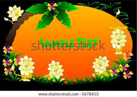 Jungle vector background with flowers,tree and lions. - stock vector