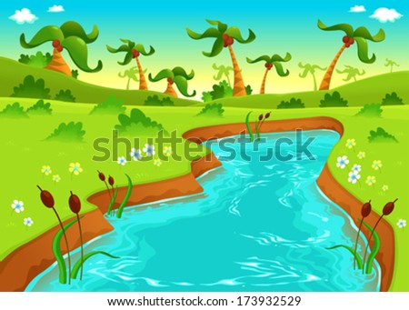 Jungle with pond. Cartoon and vector illustration. - stock vector