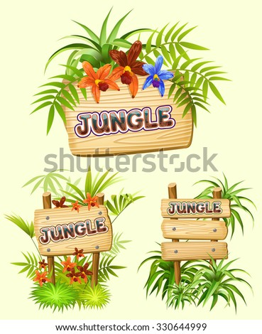 jungle. wood sign with space for text