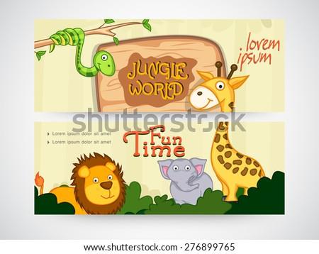 Jungle world banner or website header set. - stock vector