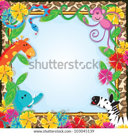 Jungle Zoo Party Invitation - stock vector