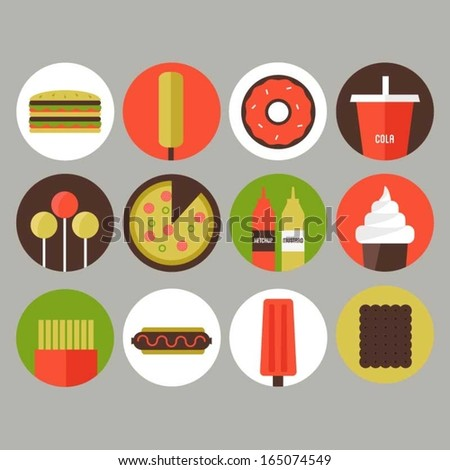 Junk food and fast food icons - stock vector