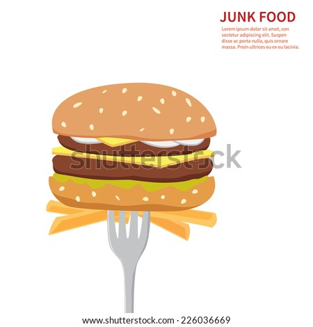 junk food background  isolated - stock vector