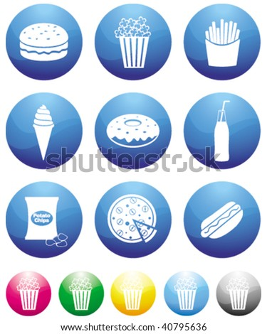junk food blue button icons - stock vector