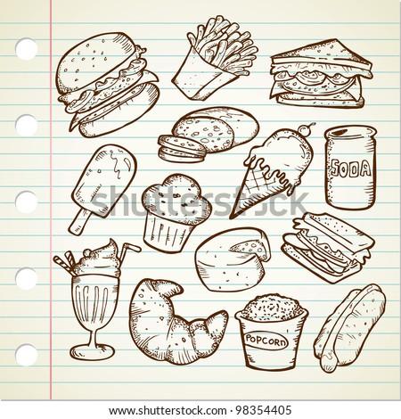 Junk Food Doodle - stock vector