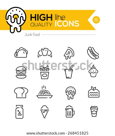 Junk Food Line Icons including: fast food, sugar, alcohol etc.. - stock vector