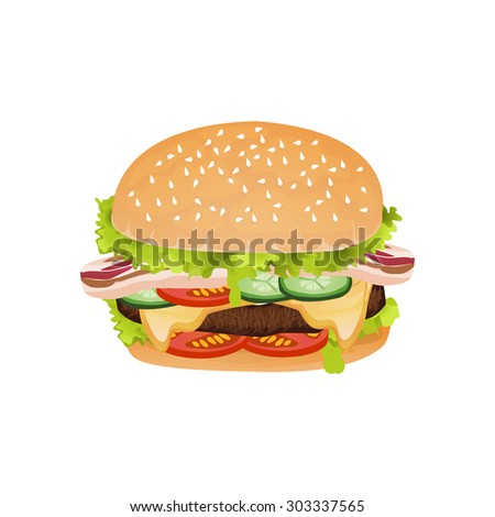 Junk food yummy meat bacon and cheese hamburger isolated background