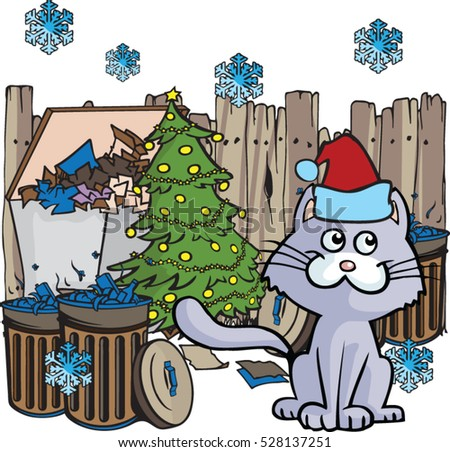 Junkyard cat with christmas tree vector cartoon