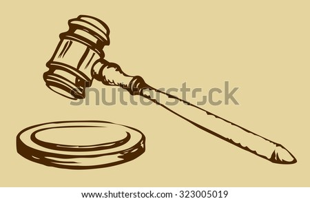 Jurisprudence appeal case round wooden mallet icon. Justitia key system symbol. Vector freehand black on white ink hand drawn sketch in art antiquity engraving style. View closeup with space for text - stock vector