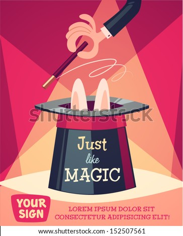 Just a magic trick. Retro styled vector poster.  - stock vector