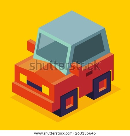 just a red car in vector illustration - stock vector