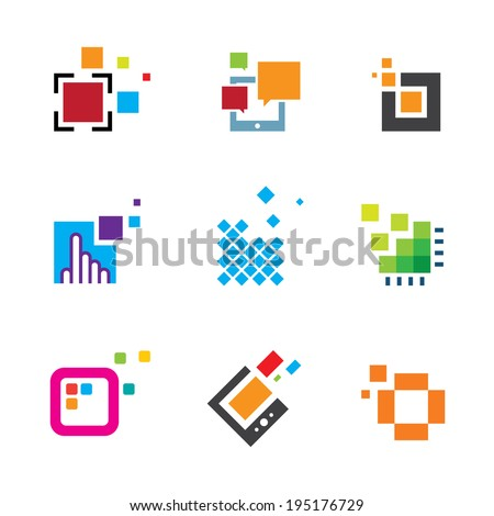 Just be creative abstract colorful design geometric polygon cube logo icon - stock vector
