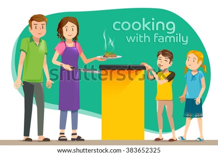 Just finished cooking in kitchen. Healthy dinner recipes for family. The smell of delicious food. - stock vector