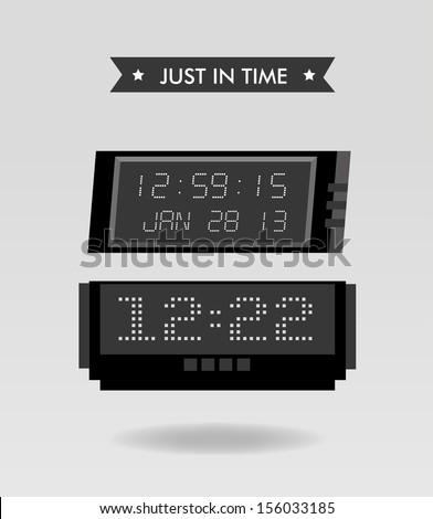 just in time design  over beige background vector illustration - stock vector