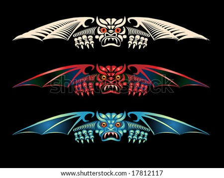 just in time for Halloween! Three versions of a gargoyle~ - stock vector