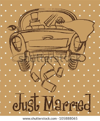 just married car over brown background, grunge. vector illustration - stock vector