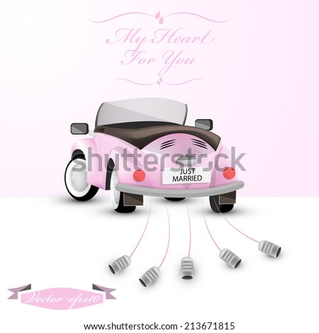 just married car vector - stock vector