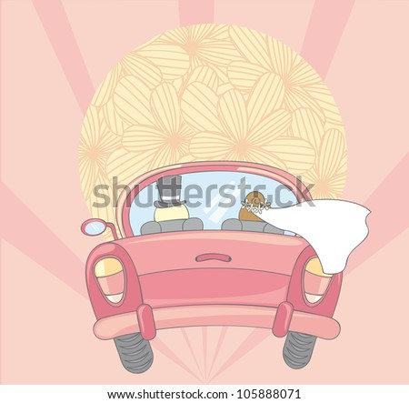 just married car with cute sun. vector illustration - stock vector