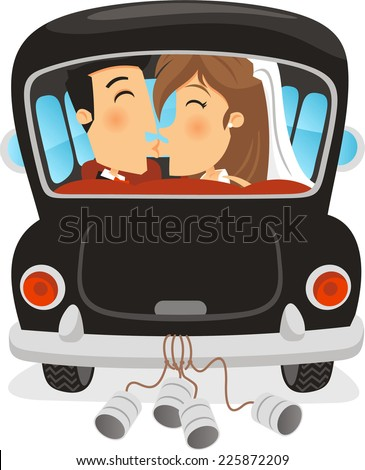 Just Married Car with Groom and Bride kissing inside. Vector illustration cartoon. - stock vector