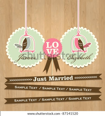 Just Married Card - stock vector
