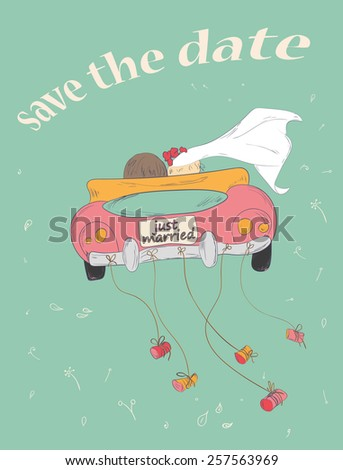Just married couple in retro car dragging cans. Wedding card design. Hand drawn vintage save the date card. Vector illustration. - stock vector
