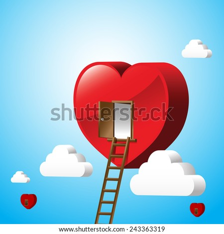 Just open heart,stair way to love, happy valentine day vector illustration - stock vector