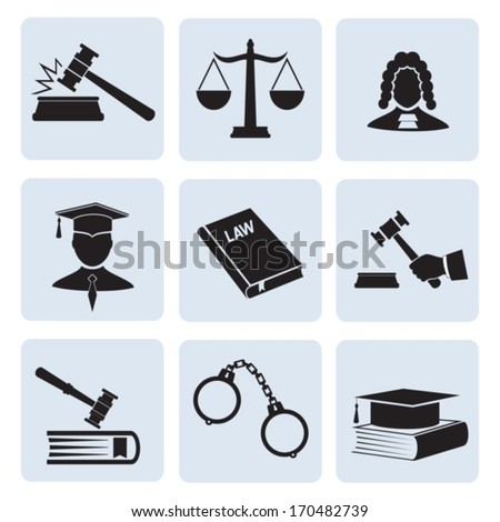 Justice and law. Vector icons. EPS-10 (non transparent elements, non gradient)  - stock vector