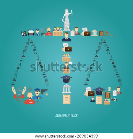 Justice concept with law icons in scales shape flat vector illustration - stock vector