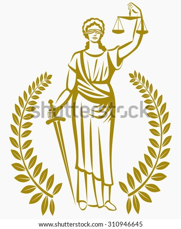 justice . Greek goddess Themis . Equality .  fair trial . Law . Laurel wreath . - stock vector