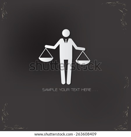 Justice human resource design on old background,vector - stock vector