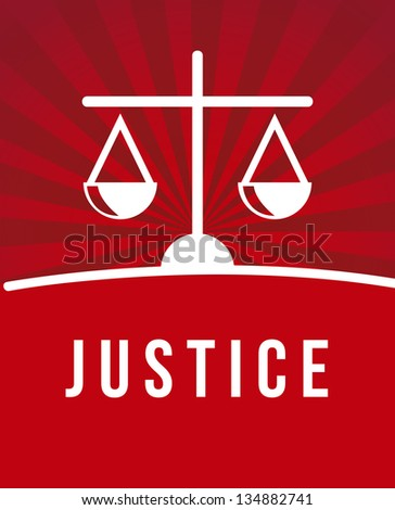 justice icon over red background. vector illustration - stock vector