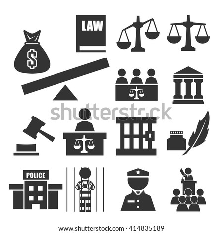 justice icon set - stock vector