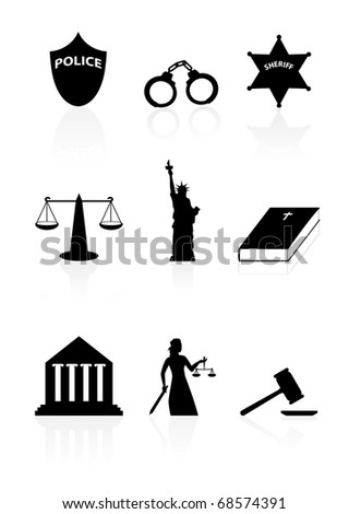 Justice icon set - stock vector