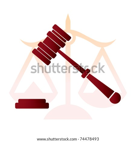 justice, judge hammer, law - illustration - stock vector