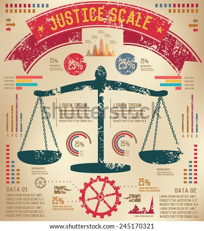 Justice scale design on old paper background,info graphic,grunge vector - stock vector