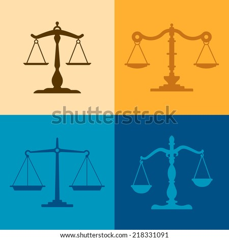 Justice scale illustrations with space for your copy. - stock vector