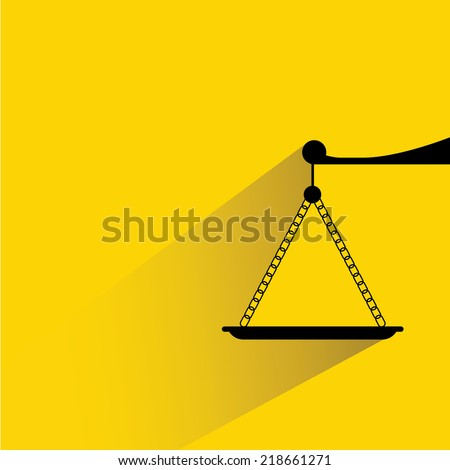 justice scale on yellow background, flat and shadow design - stock vector