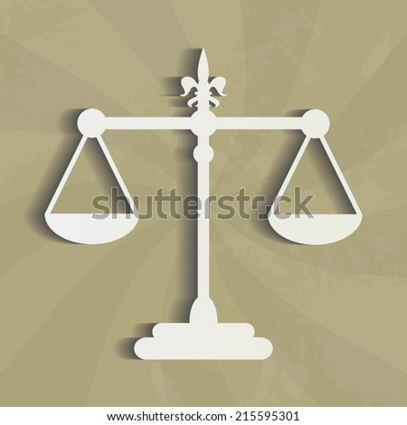 Justice scales icon vintage illustration beige design style - stock vector