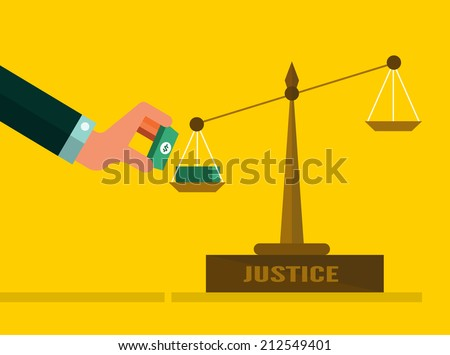 Justice scales with Money. Corruption Concept. flat design. vector illustration - stock vector