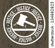 justice seal over brown background. vector illustration - stock vector